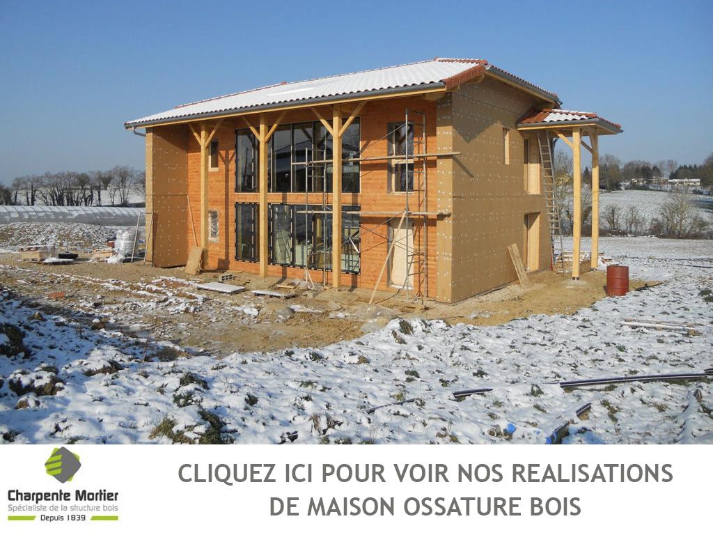 Charpente mortier votre maison ossature bois ain for Ossature en bois